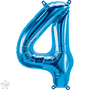 "16"" Blue Air Filled Number 4 Balloon"