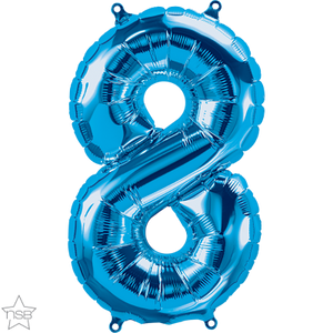 "16"" Blue Air Filled Number 8 Balloon"