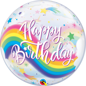 22 Inch Birthday Rainbow Unicorns Bubble Balloon