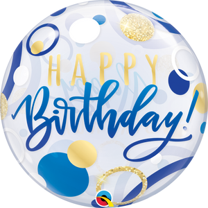 22 Inch Birthday Blue & Gold Dots Bubble Balloon