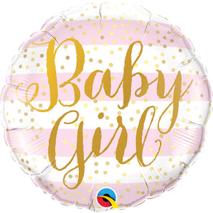 Baby Girl Pink Stripes Foil Balloon (18 inch)