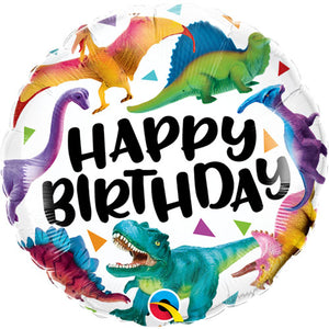 18 Inch Birthday Colourful Dinosaurs Foil Balloon