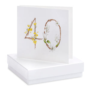 Floral 40th Earring Card