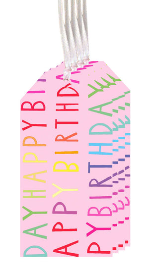 Happy Birthday Pink Tags (Pack of 4)