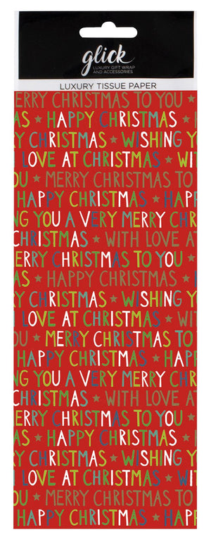 Christmas Red Script Tissue Paper