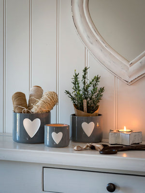 Nested Set of 3 White Heart Grey Ceramic Pots