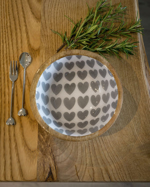 Wood/Enamel Heart Bowl Small
