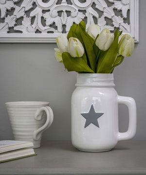 Grey Star White Ceramic Jug