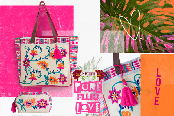 pure fluo bag cotton canva and embroidery