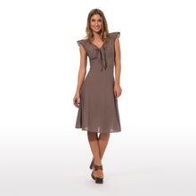 Load image into Gallery viewer, elegant summer dress with epaulettes in pure cotton in solid color  with knot in the front 010