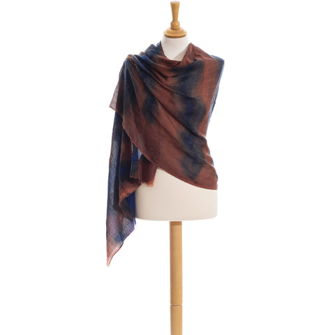 Tie & Dye Scarf In Pure Wool hand painted
