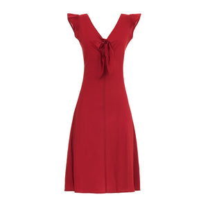 elegant summer dress with epaulettes in pure cotton in solid color red with knot in the front