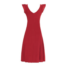 Carica l'immagine nel visualizzatore di Gallery, elegant summer dress with epaulettes in pure cotton in solid color red with knot in the front