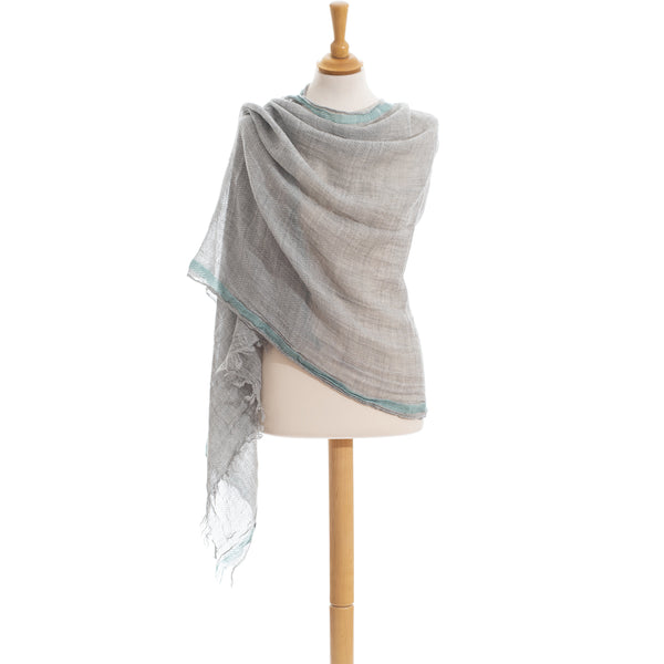 Wool Scarf unisex in grey color with light blue border