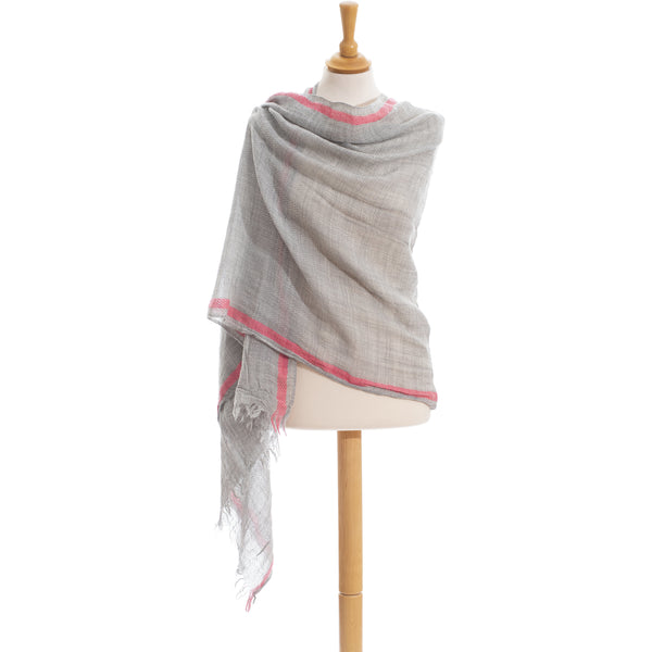 Wool Scarf unisex in grey color with pink border