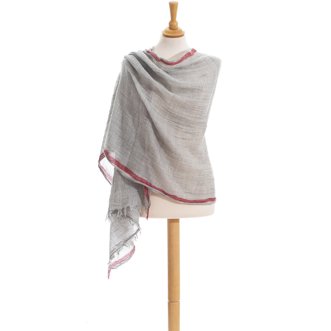 Misty Grey Red line pure wool scarf