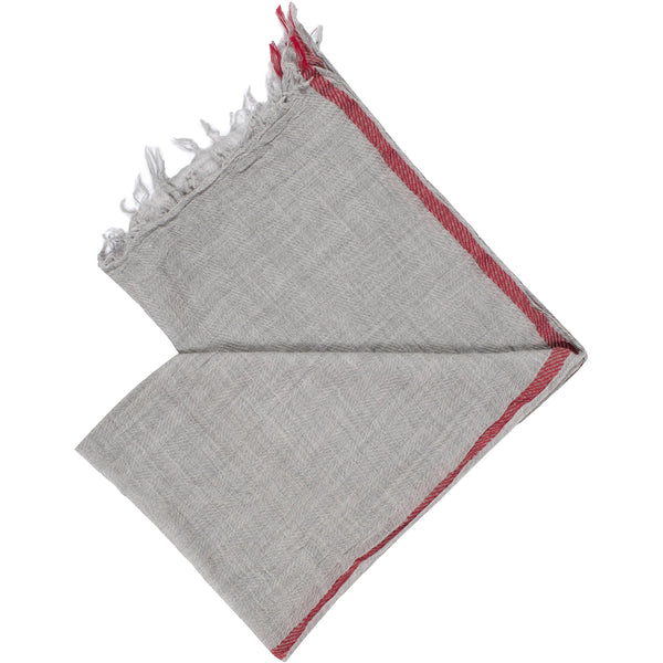 Wool Scarf unisex in grey color with red border