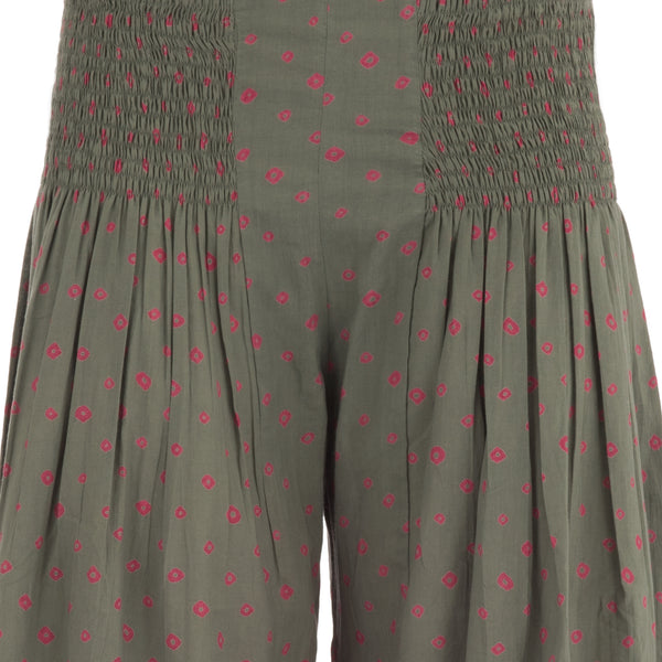 Elegant Summer Pants In Pure Cotton With Red Pois Printed All Over