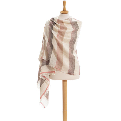 Shawl, scarf made in wool and cotton SUNSET CRUSH
