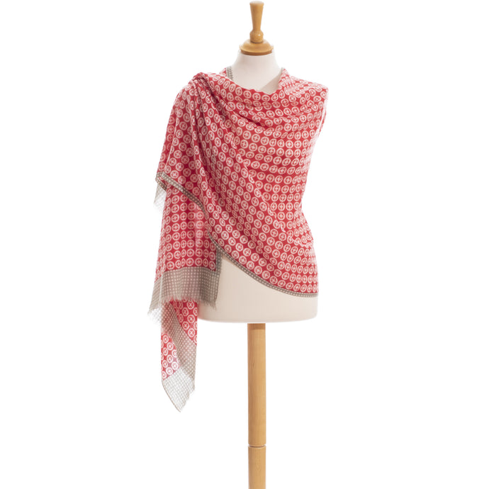 Bright red and light grey wool scarf