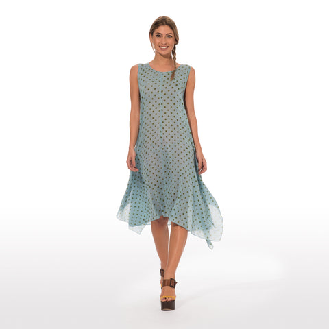 Long Dress With Green Pois Print On Light Blue Base