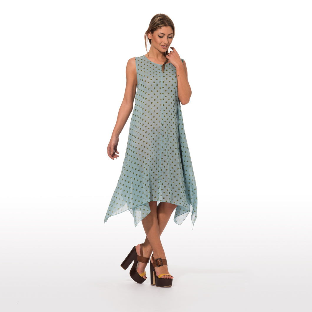 Long dress with green pois print on light blue base 005
