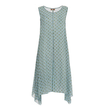 Carica l'immagine nel visualizzatore di Gallery, Long dress with green pois print on light blue base 005