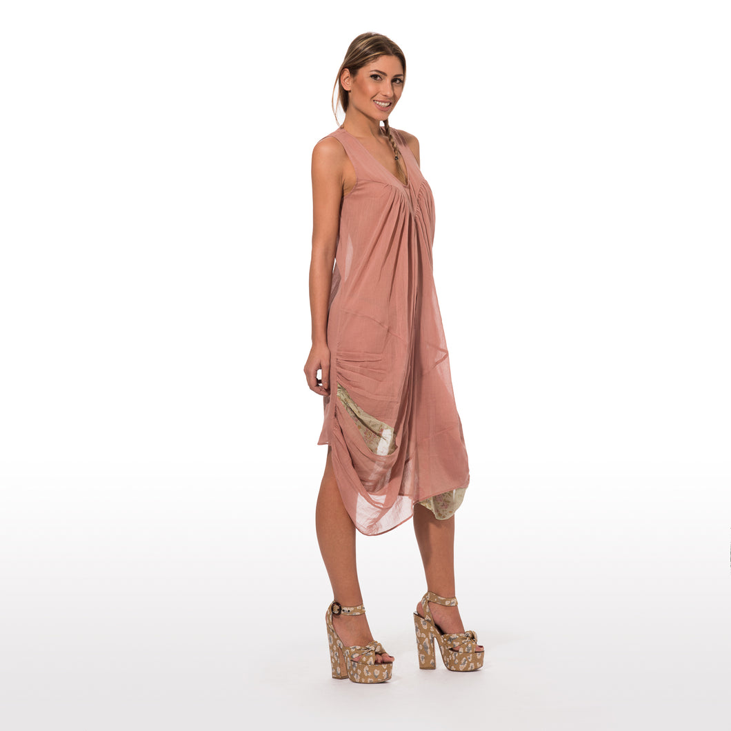 elegant summer dress sleevless in pure cotton in solid color pale pink a double drapery 007
