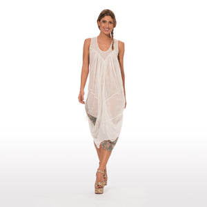 Elegant summer dress sleevless in pure cotton in solid color ecru white with a double drapery 008