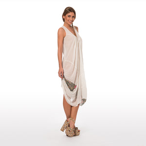 Elegant Summer Dress Sleevless In Pure Cotton In Solid Color Ecru White With A Double Drapery