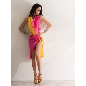 Sarong Pareo pink yellow printed 100% pure cotton