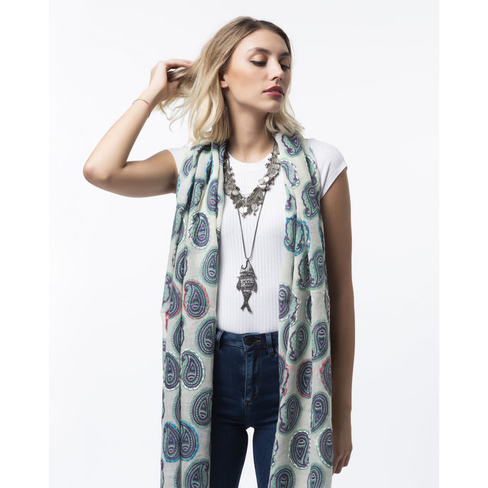 Wool embroidered scarf blue paisley
