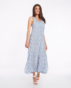 Long summer dress for women in pure light cotton with flower printed - SURAT