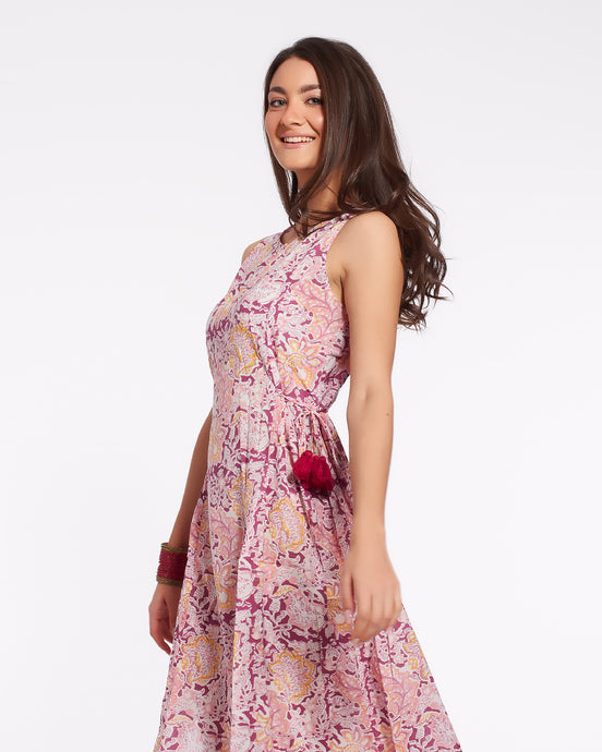 Long summer dress for women in pure light cotton with flower printed - MUMBAI