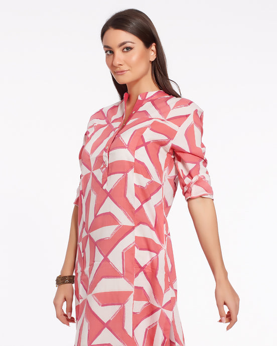 Long summer dress with geometrical print made in light cotton - JODHPUR