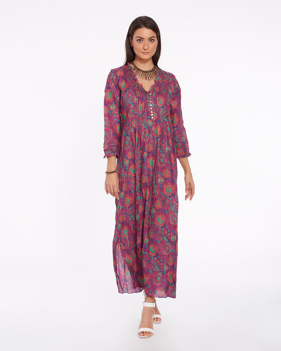 Long summer dress in light cotton for women - CHENNAI