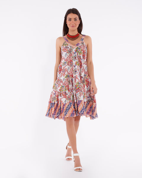 Short Summer Dress For Women In Soft Cotton With Colorful Floral Pattern - Pune