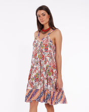 Load image into Gallery viewer, Short summer dress for women in soft cotton with colorful floral pattern
