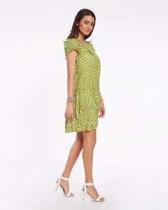 Short summer dress for women in light soft cotton, light green color with minimal design print