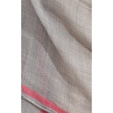 Load image into Gallery viewer, Misty Grey Pink line pure wool scarf