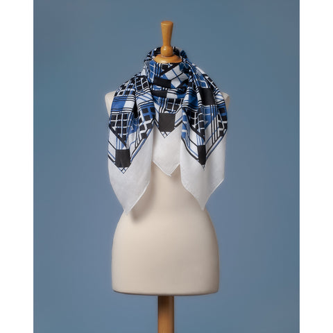 Bandana Foulard In Cotton with Geometrical Abstract print