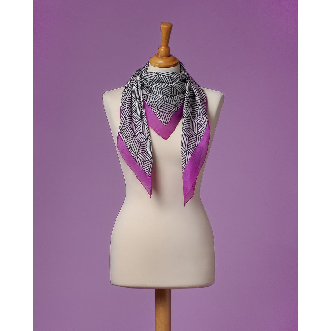 foulard in silk Geometric Cubes