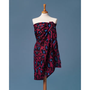 Sarong Pareo Leopard print red and blue color