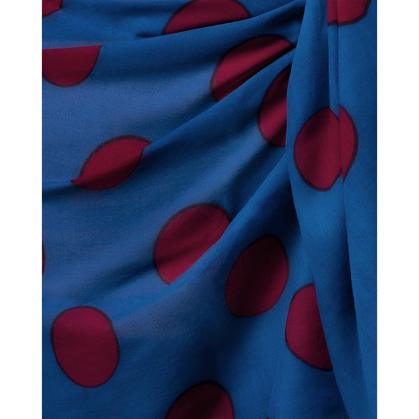 Sarong Pareo Blue Color With Red Dots Printed All Over
