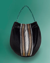Load image into Gallery viewer, Bucket bag in velvet viscose black color
