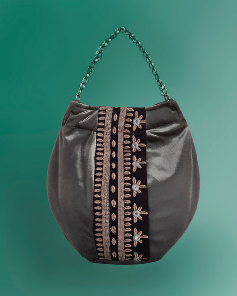 Bucket Bag In Velvet Viscose Silver Color