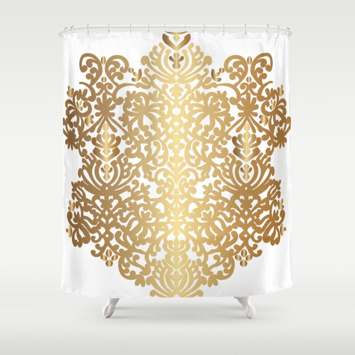 Shower Curtain 71x 74 Spanish Medallion Gold