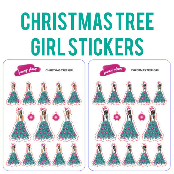 Christmas Tree Girl Planner Stickers