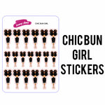 Chic Bun Girl Stickers