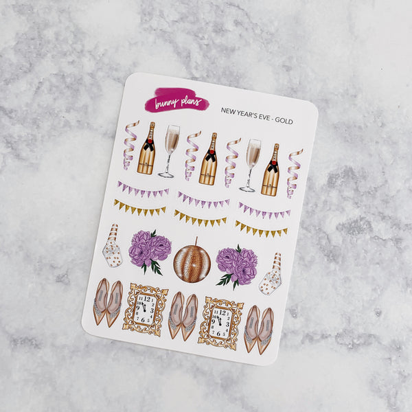 New Year's Eve Gold & Purple Planner Stickers